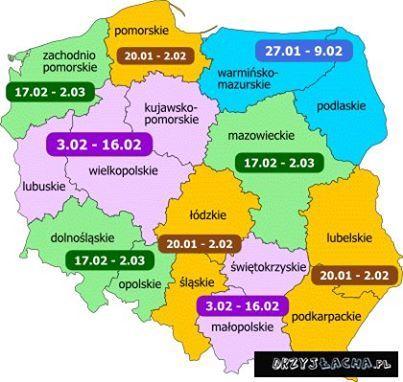 FERIE ZIMOWE 2014 - terminy we wszystkich województwach