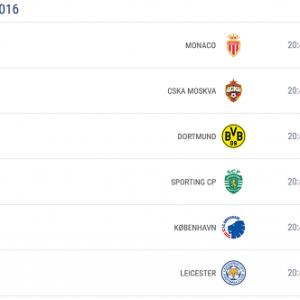 Liga Mistrzów 27.09.2016 - TERMINARZ, MECZE
