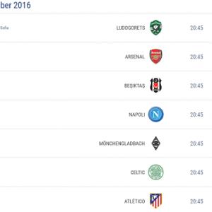 Liga Mistrzów 28.09.2016 - TERMINARZ, MECZE