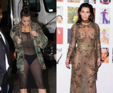 Kim Kardashian w przezroczystych sukienkach