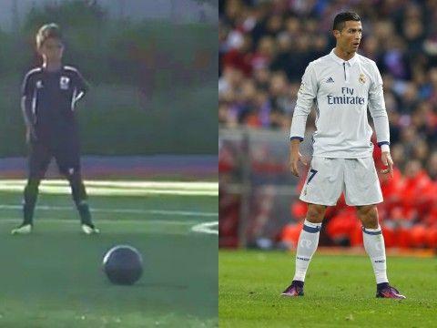 Syn Cristiano Ronaldo strzela rzut wolny