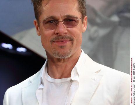 Brad Pitt na premierze filmu Machina Wojenna