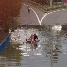 Trójmiasto tonęło, a oni... Pływali sobie na materacu po zalanej ulicy. Te zdjęcia stały się HITEM w sieci