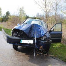 Podkarpacie: Pijana z dwójką dzieci w samochodzie uderzyła w drzewo [ZDJĘCIA]